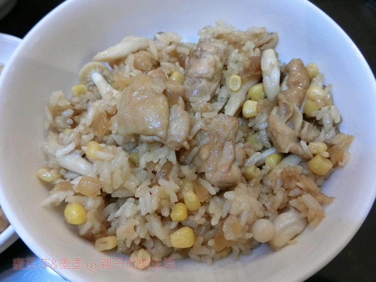 懶人電鍋飯料理 玉米好菇雞腿飯 日式炊飯